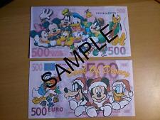 Novedad De Navidad De Disney Nota Bancaria 500 EUROS billete Navidad Donald Mickey
