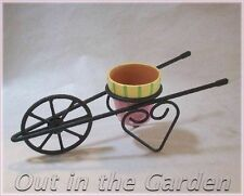 Small Metal Wire Wheel Barrel ~ Pot Holder With Little Clay Pot - Candleholder
