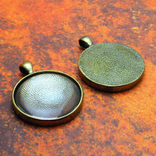 10 QTY - PRO 30MM ROUND ANTIQUE BRASS Photo Pendant Trays Bezel Jewelry & GLASS