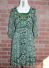 Womens Petite Size Small Green Blue Floral Beaded Boho Festival Smocked Dress