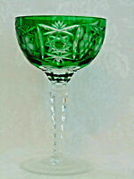 Ajka Marsala Cut to Clear Crystal Green Champagne Tall Sherbet Goblet Glass