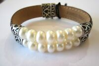 HONORA STER SILVER LEATHER & DOUBLE ROW CULTURED FRESH WATER PEARL BRACELET