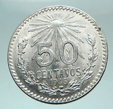 1945 MEXICO City EAGLE CACTUS SERPENT Silver 50 Centavos Mexican Coin i82652