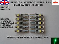 10 x 3 LED T5 286 LED CANBUS ERROR FREE GREEN BULBS DASHBOARD CLOCK UK 12v 0.5W
