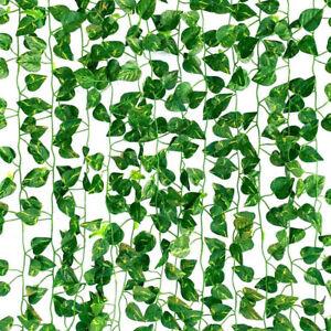 6/12/24x Artificial Ivy Leaf Plants Fake Hanging Garland Plants Vine Home Decor