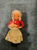 Vintage Kurtis Alder  made in Japan  1973 Felt elf Holding Turkey xmass Ornament