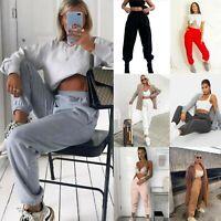 Women's Ladies Oversized Casual Fleece Pocket Joggers Cuffed Jogging Bottoms