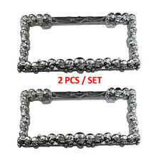 2PCS Universal 3D Skulls ABS Chrome License Plate Frame Tag Cover 2 Hole W/0 Cap