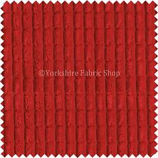 Brick Effect Soft Velvet Jumbo Cord Upholstery Curtains Sofas Fabric Red Vibrant