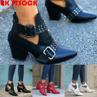 Womens Ankle Boots Pointed Toe Block Heel Chunky Booties Zip Up Shoes Size 4-6.5