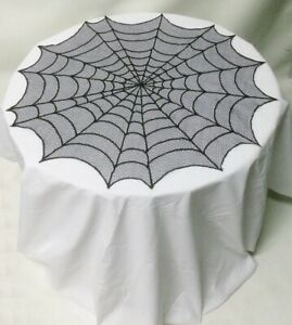 """30"""" Table Topper Lace Tablecloth Black Spider Web Halloween Dining Room Party"""