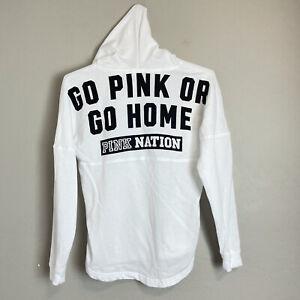 PINK Victorias Secret Size XS white oversized Hoodie Sweatshirt Spellout Logo