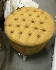 Pouff  antico stile barocco piedi in foglia oro seduta in tessuto damascato