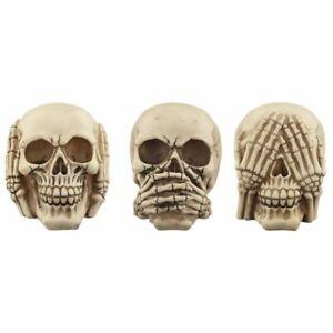 Set of 3 Large Gruesome Wise Skulls - Hear No Evil - Speak No Evil - See No Evil