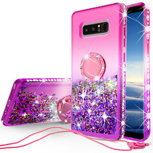 Samsung Galaxy Note 8 Liquid Glitter Phone Case Girls with Ring Kickstand Pink