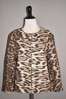 ANN TAYLOR $$129 Wool Animal Print 3/4 Sleeve Jacket Medium