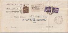 ITALIA 1945 RSI COPPIA 1L +50C AEREA  SU RACCOMANDATA DA GENOVA PER USCIO