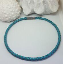 Echtleder Collier Halsband geflochten türkis blau mit Edelstahlverschluss