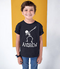 Skeleton Dab Shirt - Kids Halloween TShirt - girl boy Personalized Tee