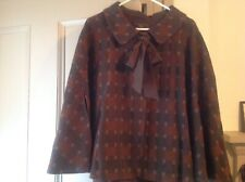 Tocca 100% Wool plaid cape with silk tie M/L Brown