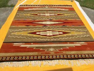 Kilim Navajo Southwestern Bohemian Large Wool Gray Rug Handmade Carpet 9x12