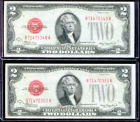 (2) Consecutive 1928-C $2 Legal Tender Notes Uncirculated