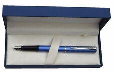 WATERMAN ALLURE METALLIC BLUE SILVER FOUNTAIN PEN FINE PT  NEW IN BOX
