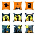 Happy Halloween Throw Pillow Cover Cushion Case Black Cat Pillow Covers 45*45cm