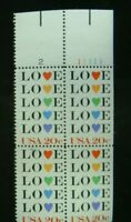 US Postage Stamps 1983 Love with Heart Love Series Scott 2072 block of 4 MNH