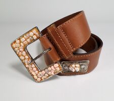 Express Compagnie Internationale Leather Belt Concho Stone Buckle Brown M 30