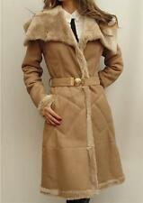 Versace Collection Lamb Leather Shearling Fur Coat UK6-8 IT40 New
