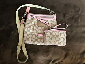 Coach Pink And Beige Crossbody With Matching Wristlet