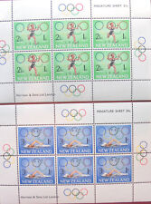 New Zealand Set of Two Postage Stamp Minisheets 1968 Olympics