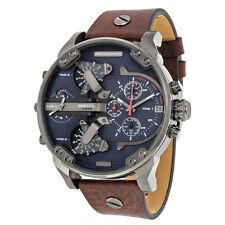 DIESEL Mr.Daddy 2.0 DZ7314 Navy Blue Dial Brown Leather Gunmetal Men's Watch