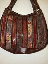 Relic Brown Tapestry Striped Shoulder Handbag Satchel Bag