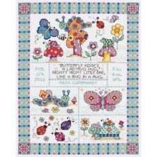 Janlynn 14 Count Bug In A Rug Birth Record Counted Cross Stitch Kit, 9-3/4-inch