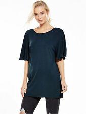 Miss Selfridge Frill Sleeve Lattice Back Cupro Tunic - Black - Size 12