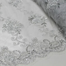 Hyacinth Trio Floral Sequin Foil on Mesh Lace Fabric by the Yard - Style 3047