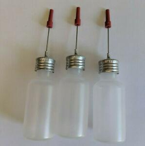 3 pcs. Refillable Precision Bottle Oiler 1/2 oz. - NO OIL, Needle Tip, Guns etc