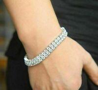 "14K White Gold Over 10 Ct Diamond Tennis Bracelet 7"" 2 Row Round Men's Bracelet"