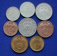All 8 WW2 German NAZI Reichspfennig Coins W/ Swastikas  WWII Coins