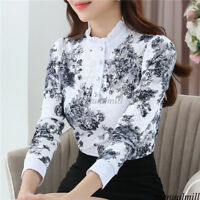 Korean Women Long Sleeve Floral Buttons Shirt Thick Career Fit Slim Tops Blouse