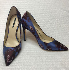 NEW ZARA Blue Jacquard High Heel Court Shoes 37 (Size 6,5 US)