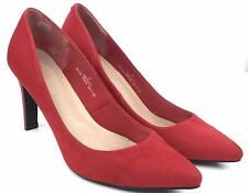 "Marks & Spencer Red Pointy court heels size 7 40 heel hight 3"" wedding"