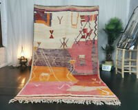 "Boujad Handmade Moroccan Vintage Rug 5'5""x9'3"" Abstract Pink Berber Wool Carpet"