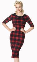 Banned Apparel Rockabilly Vintage 50s Neck Tie Red Check Tartan Pencil Dress