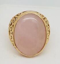 Large Oval Cut Rose Quartz Ring - 18ct Yellow Gold (6307M)