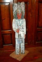 "Vintage 60"" Tall Hand Carved & Painted Wood Cigar Pipe Store Indian Sculpture"