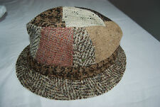 Shades of Brown Gray Cream Wool Patchwork JONATHAN RICHARD Fedora Hat Medium