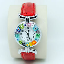 Murano Glass Quartz Watch from Venice with Millefiori and Red Strap